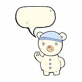 picture of bear-cub  - cartoon polar bear cub with speech bubble - JPG