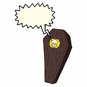 foto of coffin  - spooky cartoon coffin with speech bubble - JPG