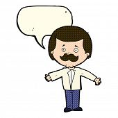 picture of open arms  - cartoon mustache man with open arms with speech bubble - JPG