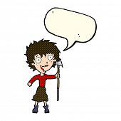 foto of spears  - cartoon crazy woman with spear with speech bubble - JPG