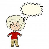 image of annoying  - cartoon annoyed old woman with speech bubble - JPG