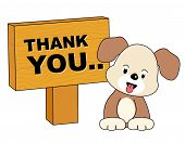 pic of politeness  - Thank you card with a cute little puppy and notice board - JPG