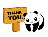 stock photo of politeness  - Thank you card with a cute panda and notice board - JPG
