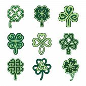 stock photo of celtic  - Celtic clover patterns - JPG