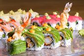 picture of sushi  - Sushi with salmon and Philadelphia - JPG