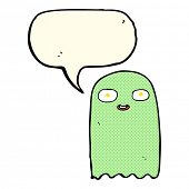 pic of funny ghost  - funny cartoon ghost with speech bubble - JPG