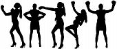 picture of boxing  - Set silhouettes of woman in boxing - JPG