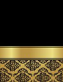 picture of damask  - Elegant gold and black damask pattern background with ribbon - JPG