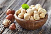 stock photo of hazelnut  - Hazelnuts kernel - JPG