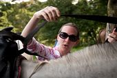 Tourist In Costa Rica With Horse poster