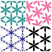 pic of six-petaled  - geometric six petals flowers vector pattern in four style - JPG