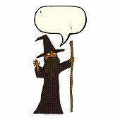 foto of wizard  - cartoon spooky wizard with speech bubble - JPG
