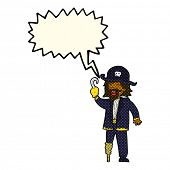 picture of peg-leg  - cartoon pirate captain with speech bubble - JPG