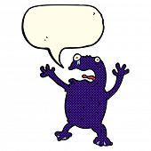 image of poison  - cartoon poisonous frog with speech bubble - JPG