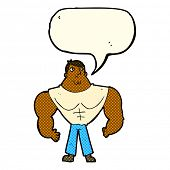 picture of body builder  - cartoon body builder with speech bubble - JPG