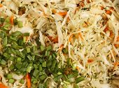 foto of mixture  - Mixture of ingredients for preparing a salad with finely chopped cabbage carrots dill and green onions close - JPG