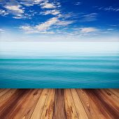 picture of indigo  - wood and sea Indigo color soft wave with blue sky - JPG