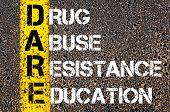 picture of daring  - Medical Acronym DARE as DRUG ABUSE RESISTANCE EDUCATION.