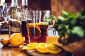 picture of sangria  - Large jar of sangria with red wine - JPG