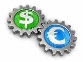 stock photo of snatch  - Gears with dollar and euro - JPG