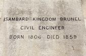 stock photo of plaque  - The name and date plaque on the podium of the Isambard Kingdom Brunel  - JPG