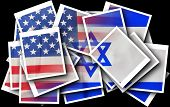 Постер, плакат: Broken Usa And Israel Flags