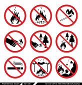 Постер, плакат: Set of open fire prohibition signs Collection of prohibition signs Open fire banned No lighting f