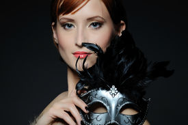 picture of venice carnival  - Beautiful woman with perfect party make - JPG