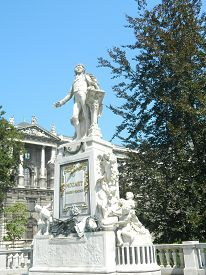 picture of mozart  - Statue of Wolfgang Amadeus Mozart Burggarten in Vienna Austria at the back of Hofburg winter palace - JPG