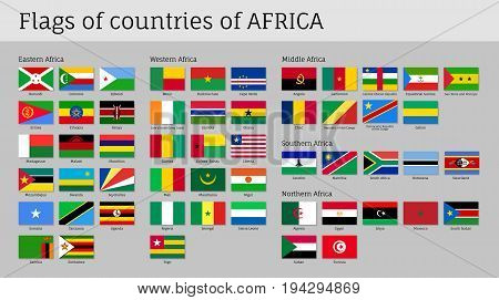 poster of Africa flags big set. Travel agency or classroom geography poster, political map information. Flat vector illustration on gray background
