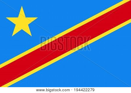 poster of Democratic Republic of the Congo flag. National current flag, government and geography emblem. Flat style vector illustration