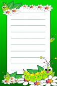 picture of grub  - Kid notebook page with grubs and white daisies  - JPG