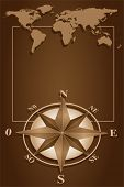 picture of compass rose  - Map world and blank frame with compass rose - JPG