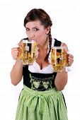 Female waitress tasting drinking beer