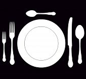 picture of collate  - closeup of a place setting with dinner - JPG