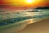 picture of beach sunset  - tranquil beach sunset - JPG