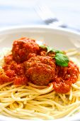 Plate Of Meatball In Tomato Sauce With Spaghetti poster