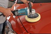 foto of buff  - Car care with power buffer machine at service station  - JPG