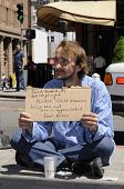 SAN FRANCISCO - APRIL 27: A Homeless suffering with aids begging for help April 27, 2008 in San Fran