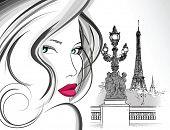 Постер, плакат: Векторные иллюстрации женщины на мост Александра в Париже чернилами чертеж
