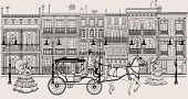 image of carriage horse  - Vector imaginative artwork representing a street in New orleans style with horse carriage and women in crinoline dress - JPG