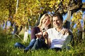 Cheers! Friendly woman and man (couple) sitting in vineyard holding glasses for wine drinking.