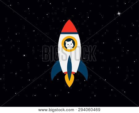 poster of Rocket With Cat Astronaut On Background Stars Sky. Rocket With A Cat Flies Up. Cat With Rocket In Sp