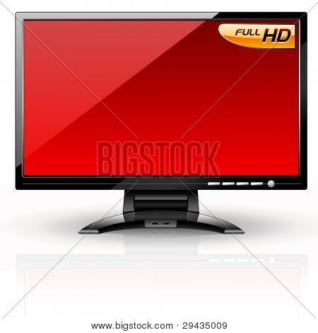 poster of LCD Panel: Red variant. Editable vector