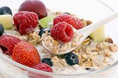 stock photo of cobnuts  - Muesli with fresh Fruits - JPG