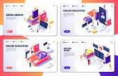 Online Education, Training, Library, Exam Vector Landing Page Templates. Education Training And Web  poster