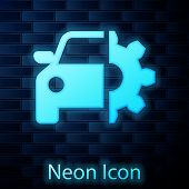 Glowing Neon Car Service Icon Isolated On Brick Wall Background. Auto Mechanic Service. Mechanic Ser poster