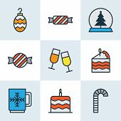 Christmas Icons Colored Line Set With Mug, Cake Piece, Candy Confection Elements. Isolated  Illustra poster