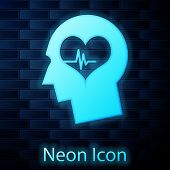 Glowing Neon Male Head With A Heartbeat Icon Isolated On Brick Wall Background. Head With Mental Hea poster