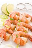 stock photo of braai  - Prawn Skewer - JPG